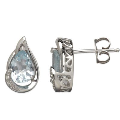 Sterling Silver .01 cttw Diamond and Aquamarine Pear-Shape Stud Earrings