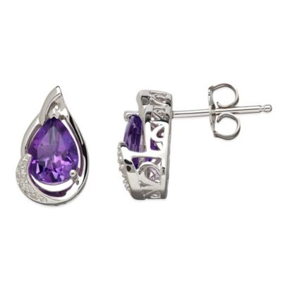 Sterling Silver .01 cttw Diamond and Amethyst Pear-Shape Stud Earrings
