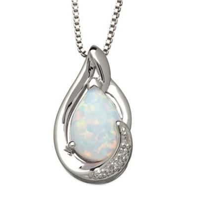 Sterling Silver .01 cttw Diamond and Lab-Created Opal 18-Inch Chain Pear-Shape Pendant Necklace