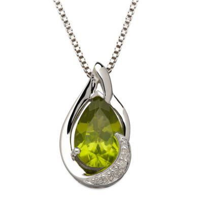 Sterling Silver .01 cttw Diamond and Peridot 18-Inch Chain Pear-Shape Pendant Necklace