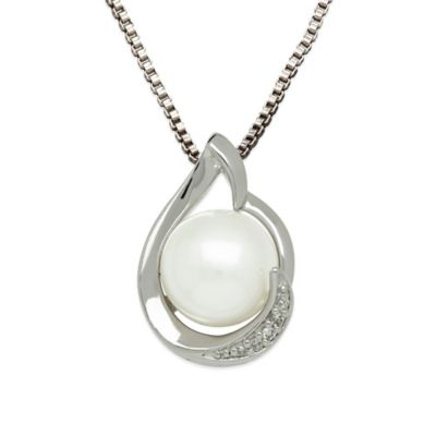 Sterling Silver .01 cttw Diamond and 7mm Round Freshwater Cultured Pearl Pear-Shape Pendant Necklace