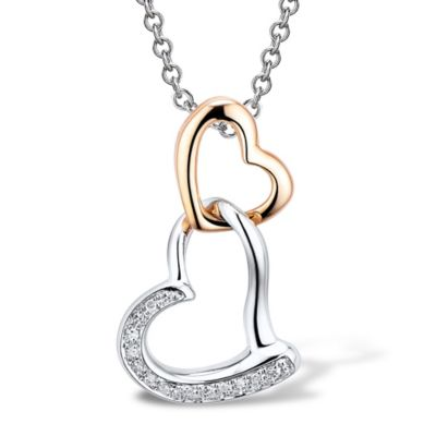 Sterling Silver and Rose-Plated .06 cttw Diamond 18-Inch Chain Double-Heart Drop Pendant Necklace