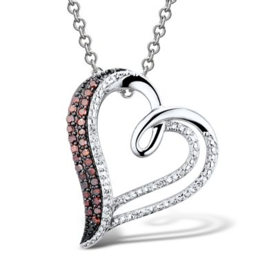 Sterling Silver .16 cttw White and Treated Red Diamond Double Row Open Heart Pendant Necklace