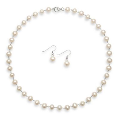 Sterling Silver 7-8mm Freshwater Cultured Pearl Strand Necklace and Dangle Earring Set