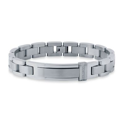 Stainless Steel .05 cttw Diamond 8.5-Inch Men's ID Link Bracelet