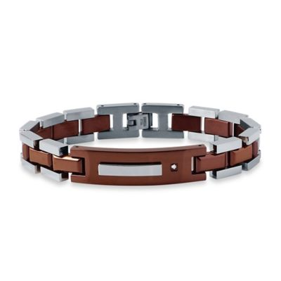 Brown Ion-Plated Stainless Steel .02 cttw Diamond 8.5-Inch Men's ID Bracelet