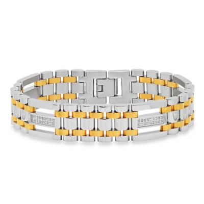 Two-Tone Ion-Plated Stainless Steel .25 cttw Diamond 8.75-Inch Men's Bracelet
