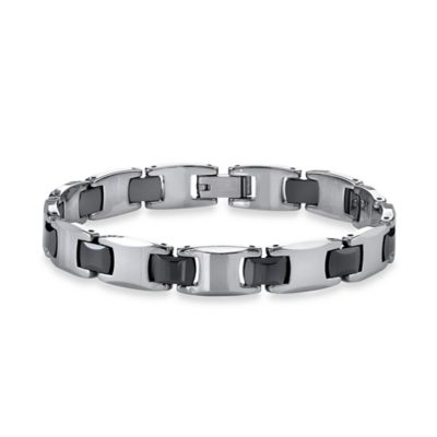 Ceramic and Black Ion-Plated Tungsten 8.5-Inch Men's Link Bracelet