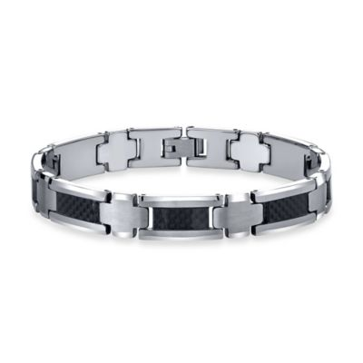 Tungsten and Black Carbon Fiber 8.5-Inch Men's Link Bracelet