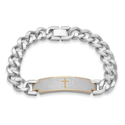 Stainless Steel 8.5-Inch Lord's Prayer Men's ID Bracelet