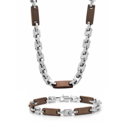Brown Ion-Plated Stainless Steel Men's Flat Link Chain and Bracelet Set