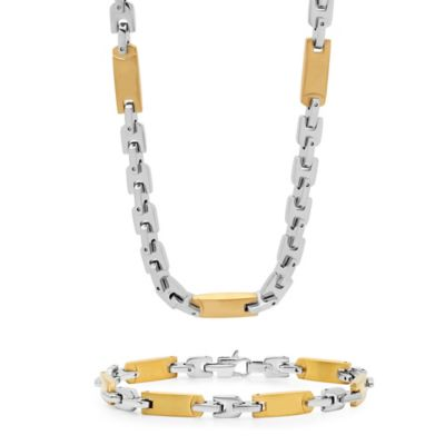 Two-Tone Ion-Plated Stainless Steel Men's Flat Link Chain and Bracelet Set