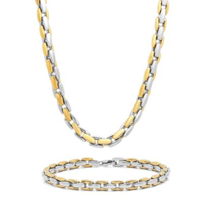 Two-Tone Ion-Plated Stainless Steel Men's Link Chain and Bracelet Set
