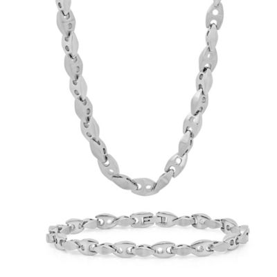 Stainless Steel Men's Mariner Link Chain and Bracelet Set
