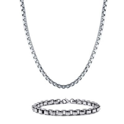 Stainless Steel Men's Box Link Chain and Bracelet Set