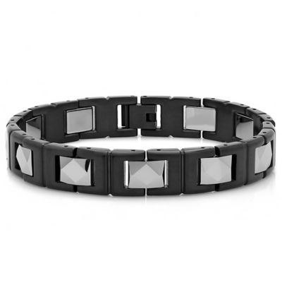 Black Ion-Plated Stainless Steel and Tungsten 8.5-Inch Pyramid Link Men's Bracelet