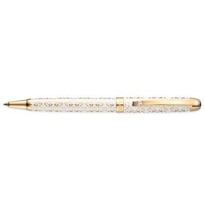 ESCADA Lacquered Cubic Zirconia Goldtone Emblem Ballpoint Pen