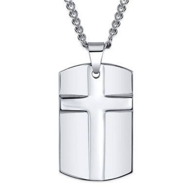 Tungsten 24-Inch Stainless Steel Chain Men's Dog Tag Cross Pendant