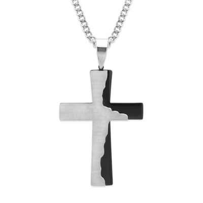 Two-Tone Stainless Steel 24-Inch Chain Men's Lord's Prayer Cross Pendant