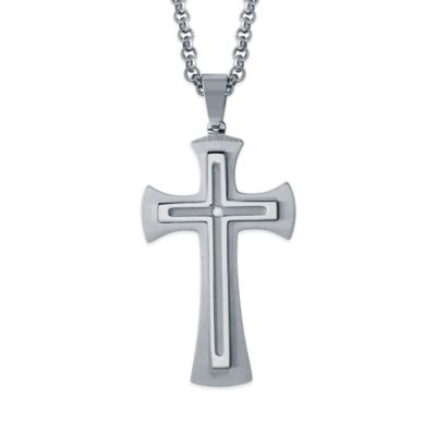 Stainless Steel .02 cttw Diamond 24-Inch Chain Men's Embossed Cross Pendant