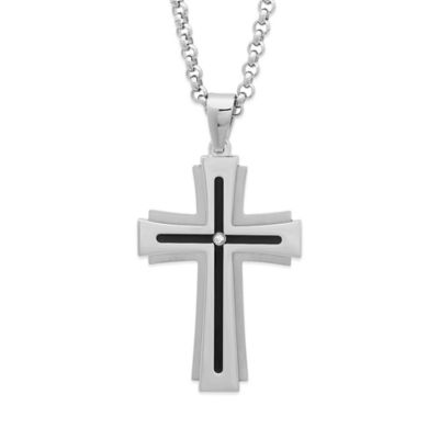 Black and White Stainless Steel .02 cttw Diamond 24-Inch Chain Men's Embossed Cross Pendant