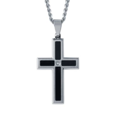 Black Resin and Stainless Steel .02 cttw Diamond 24-Inch Chain Men's Cross Pendant
