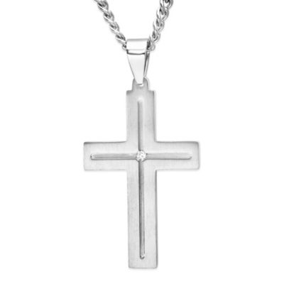 Stainless Steel .03 cttw Diamond 24-Inch Chain Men's Cutout Cross Pendant