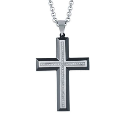 Black Ion-Plated Stainless Steel .25 cttw Diamond 24-Inch Chain Men's Cross Pendant
