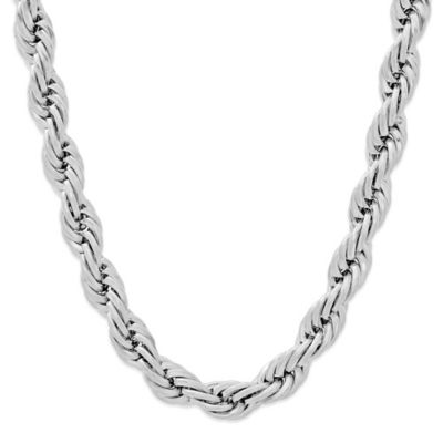 Stainless Steel 24-Inch Men's Rope Chain