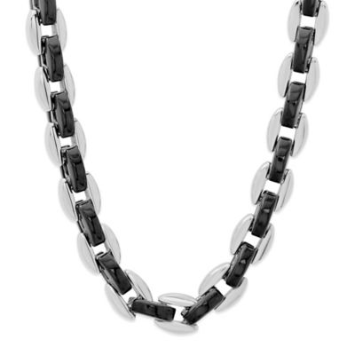 Stainless Steel and Black Ion-Plated 24-Inch Men's Oval Link Chain