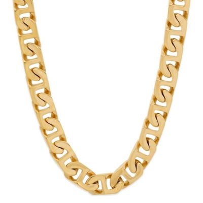 Yellow Ion-Plated Stainless Steel 24-Inch Men's Flat Mariner Link Chain