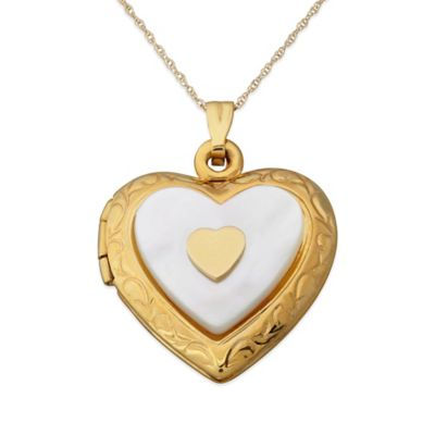 10K Yellow Gold and Mother of Pearl 18-Inch Chain Layered Heart Locket