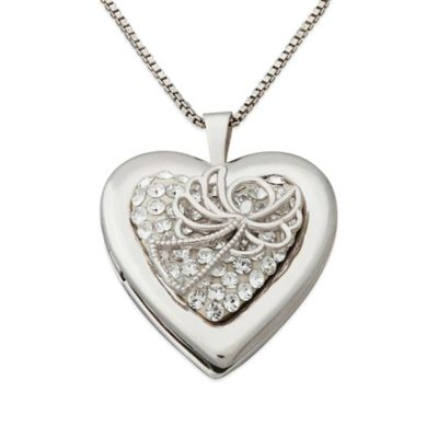 Sterling Silver and Swarovski® Crystal 18-Inch Chain Angel Heart Locket