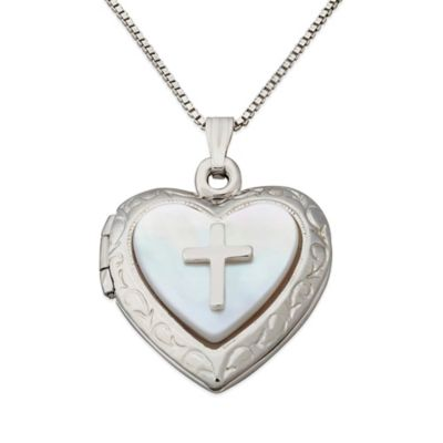 Sterling Silver and Mother of Pearl 18-Inch Chain Cross Accent Layered Heart Locket