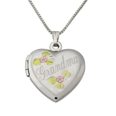 Sterling Silver 18-Inch Chain Grandma Heart Locket