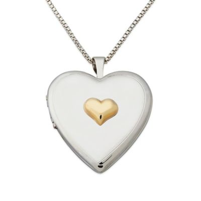 Sterling Silver and 14K Yellow Gold 18-Inch Chain Heart Accent Locket