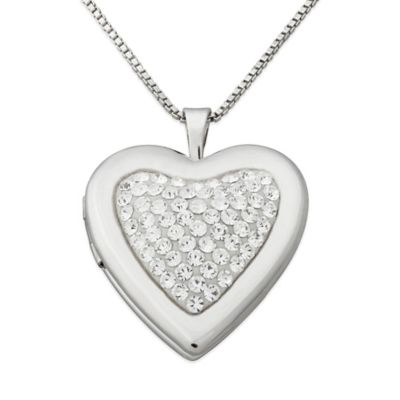 Sterling Silver and Crystal 18-Inch Chain Heart Locket