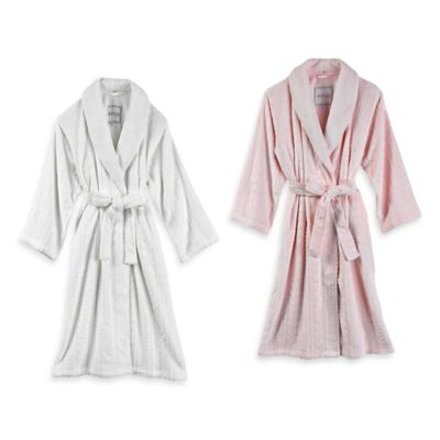 Kenneth Cole Reaction Home Size Small/Medium Missy Cable Plush Bathrobe in Blush