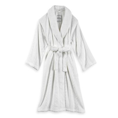 Kenneth Cole Reaction Home Size Small/Medium Missy Cable Plush Bathrobe in Ivory