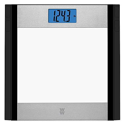 Weight Watchers® Glass and Stainless Steel Bathroom Scale ...
