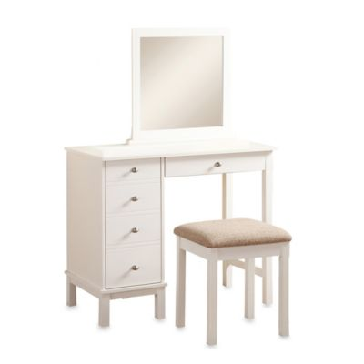 Linon Home Julia Vanity and Bench Set in White