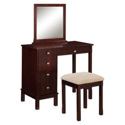 Linon Home Julia Vanity and Bench Set in Walnut