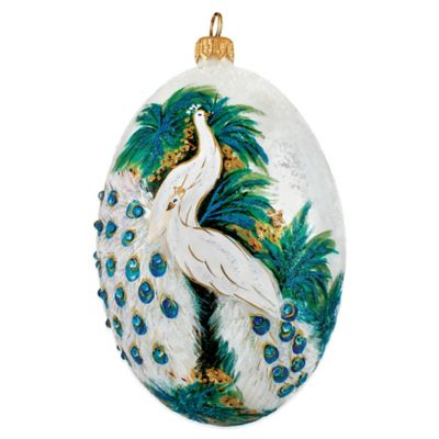Pet Set Joy to the World Collectibles Timeless Courtship White Peacock Egg Christmas Ornament