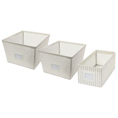 Small Canvas Storage Bin in Stripe