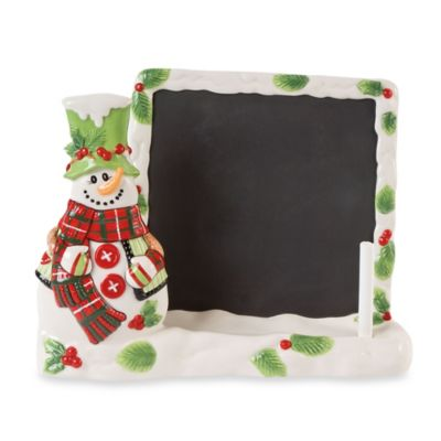 Fitz and Floyd® Holly Hat Snowman Tablet Holder & Chalkboard