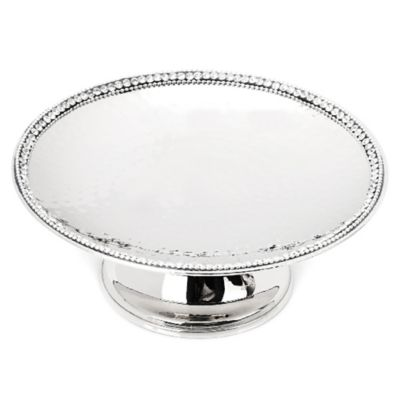 Classic Touch Hammered Stainless Steel Footed Candy Dish
