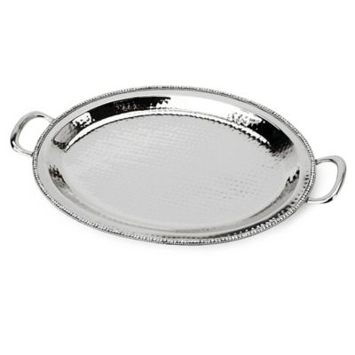 Classic Touch Hammered Stainless Steel Handled Oval Platter