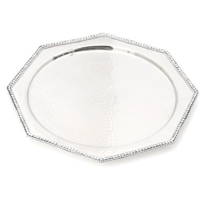 Classic Touch Hammered Stainless Steel Small Octagonal Tray