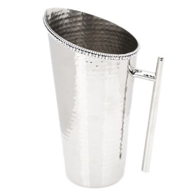 Classic Touch Hammered Stainless Steel Pitcher
