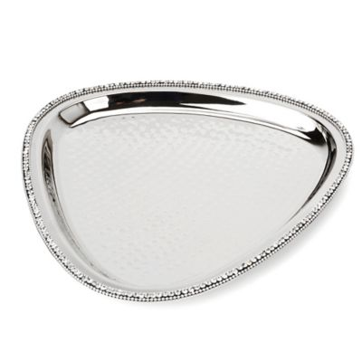 Classic Touch Hammered Stainless Steel Triangular Tray